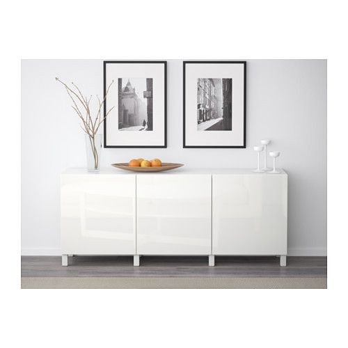 BESTÅ Comb arrumação c/portas - branco/Selsviken branco/brilh - IKEA