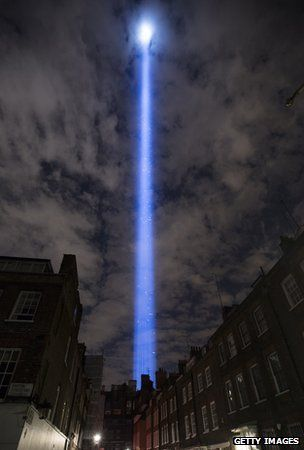 Hands to heart - Spectra seen over the London night sky commemorating a century since Britain entered WW1.