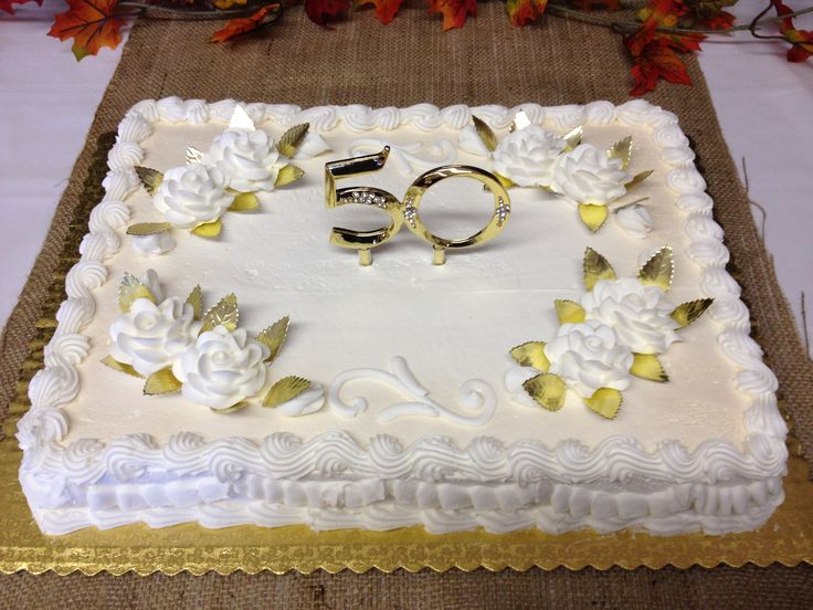 this simple anniversary sheet cake had a gold and diamond