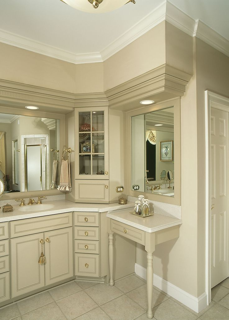 Best 25 corner bathroom vanity ideas on pinterest his for Custom bathroom cabinets