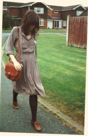 fashion, style, dress, colour, muted, natural, satchel, brogues, long bob, fringe, outfit