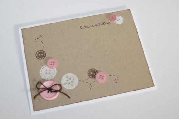 Cute as a button - Baby shower invitations, baby girl, pink and brown, set of 12