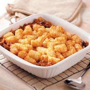 CHILI TOTS. Possible dinner possibility for tonight, i know the kids would love this with cheddar cheese on top!
