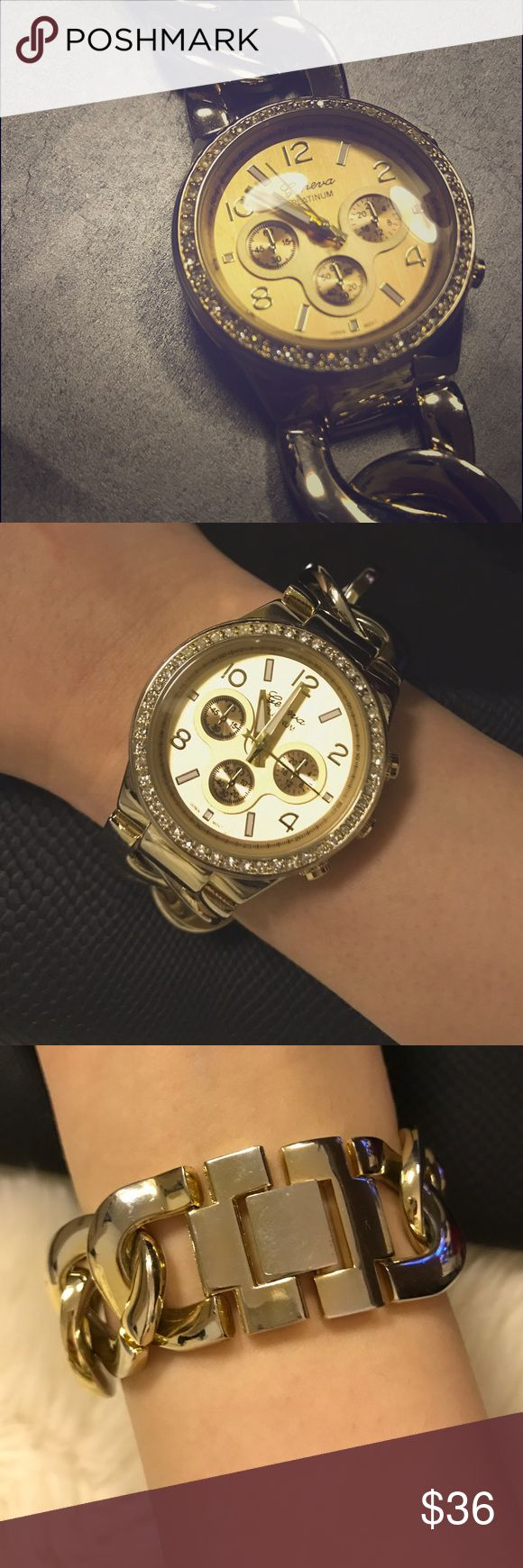 ✨Gold Chain Watch✨ Gold Bulky Chain Watch. Very similar to MK Gold Watch. ( Picture 4 ) No real gold but looks very gorgeous and trendy✨✨ Still works!!! Francesca's Collections Accessories Watches