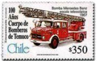 Chile-Comión de Bomberos con escalera telescopica