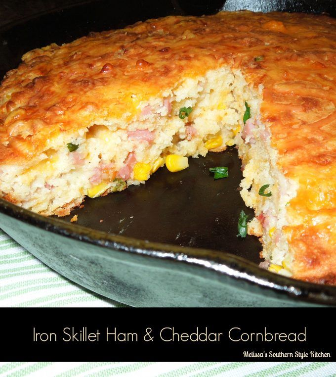 Iron Skillet Ham And Cheddar Cornbread - I have a 10-inch cast iron skillet that my Mom gave to me several years ago. It's perfect for making cornbread like this ham, cheese and corn filled skillet cornbread.
