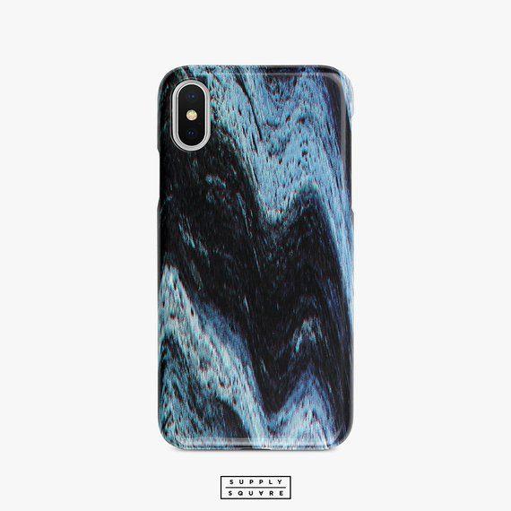Black And Blue Glitch Marble iPhone X Case Samsung Galaxy S8
