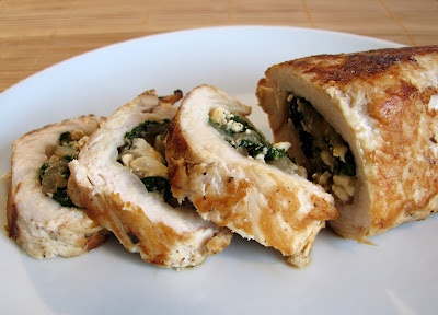 Feta, spinach and caramelized onion stuffed chicken. Can't wait to try this!!
