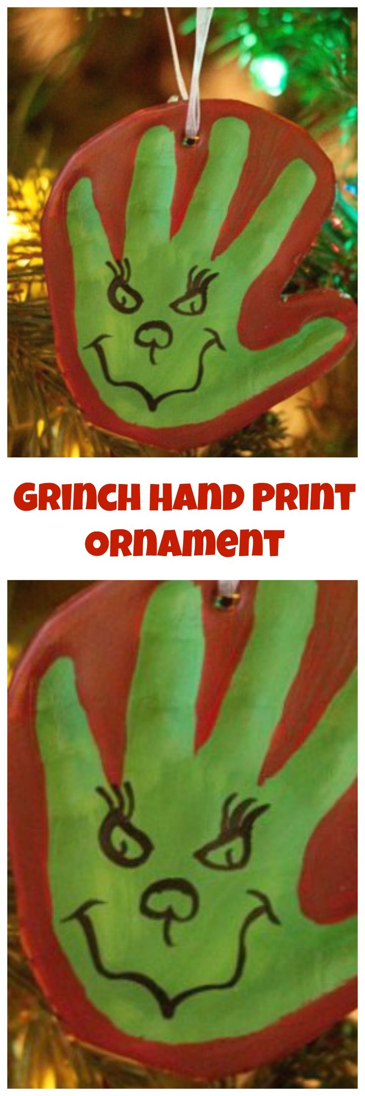 The Grinch Hand Print DIY Clay Ornament . The Grinch Hand Print Ornament DIY Christmas Memory ornament