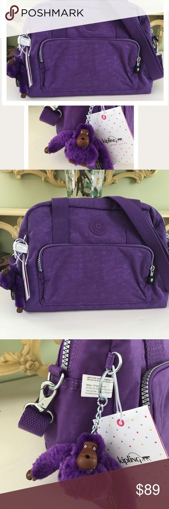 New✅Kipling❗️Purple Shoulder Bag w monkey New Kipling Handbag with purple monkey Super cute spring vibes Kipling Bags