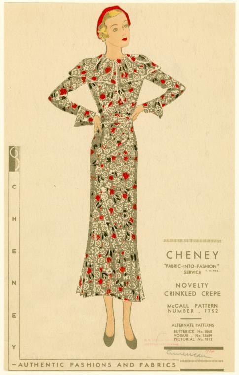 Crinkled crepe floral print dress (1934) | More lusciousness at myLusciousLife.com