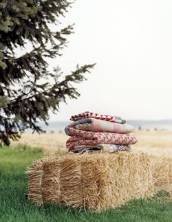 hay bale and blankets