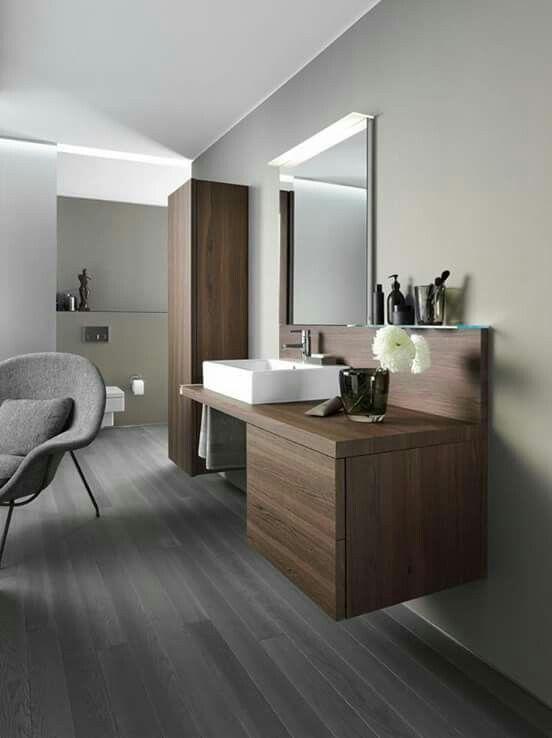 Lindodnil · Minimal BathroomDark Wood BathroomWooden Bathroom CabinetsFloating  ...