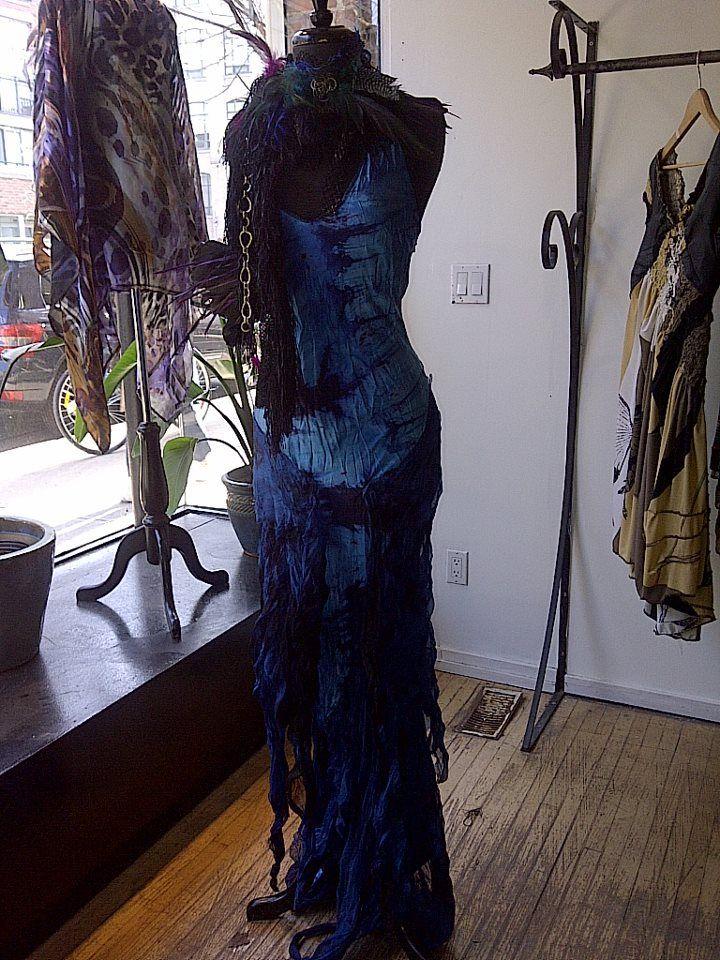 Sexy long blue dress
