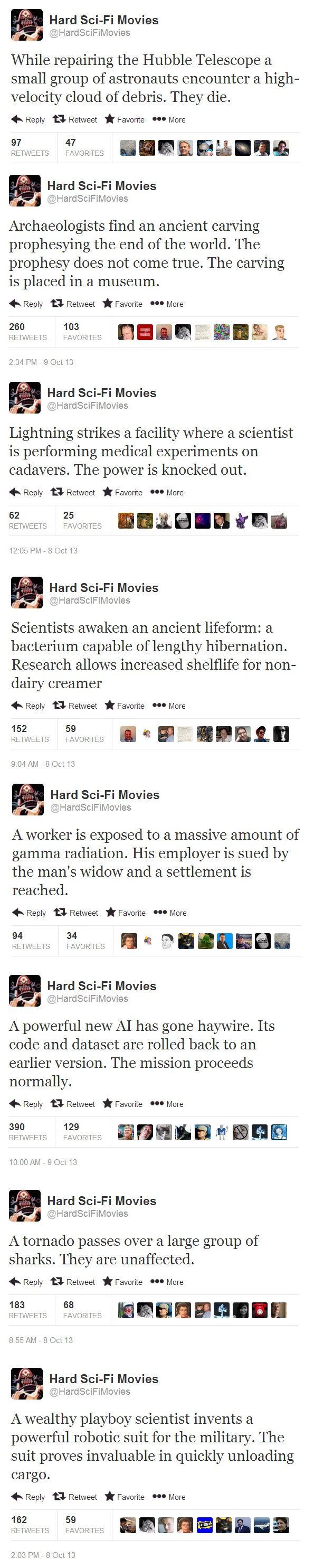 Att tweeta science fiction-filmer som om de vore verkliga. Tweeting the reality of sci-fi movies.
