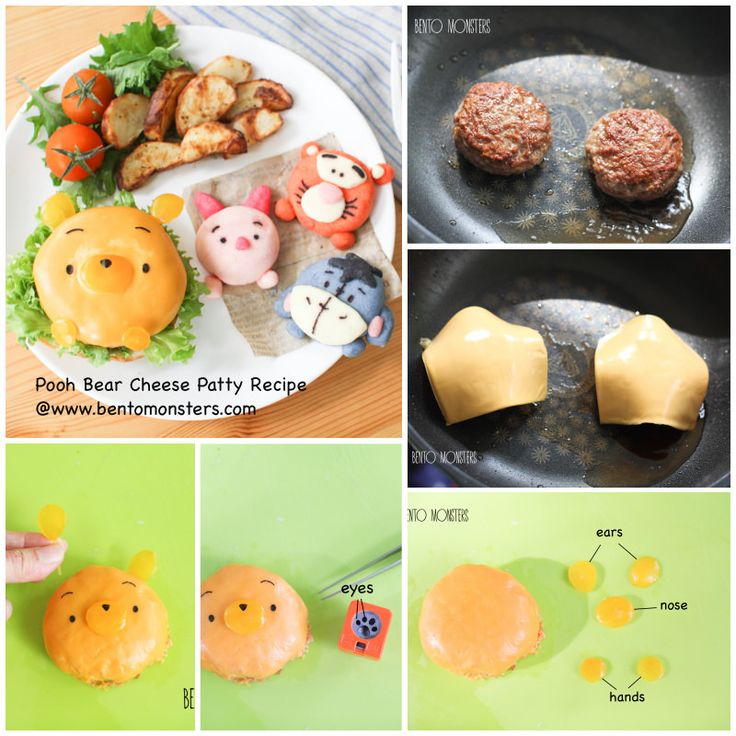 pooh bear cheese patty with tutorial