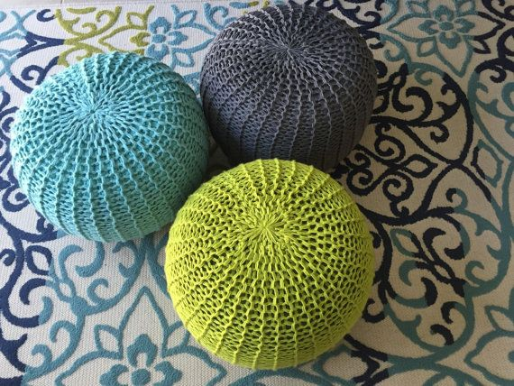 My hand knit pouf makes a comfy ottoman. Pouf Ottomans feature a unique texture and are firm enough to offer plenty of support. Other ottomans of