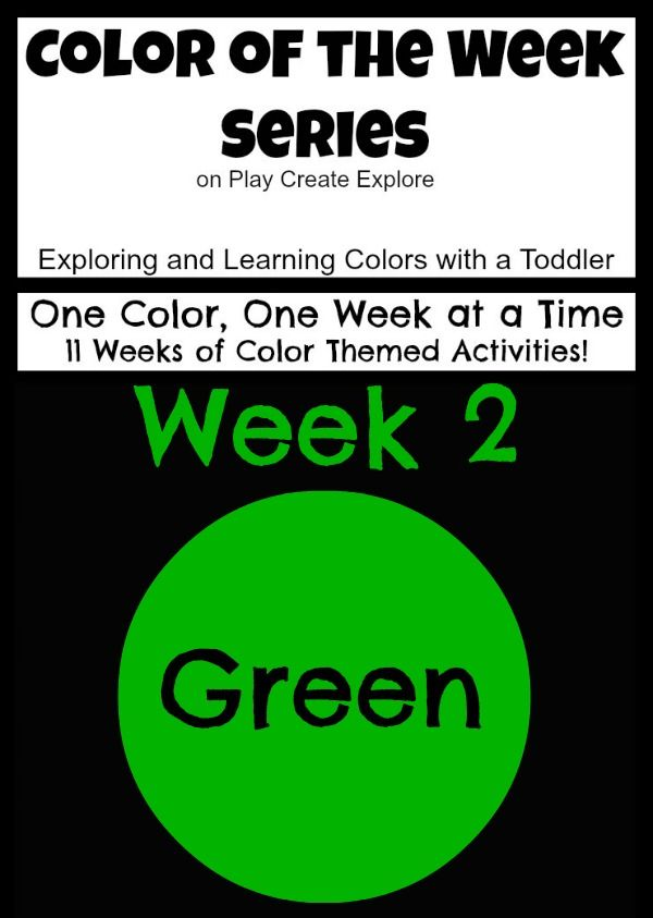 Color of the Week: Green!  Activities for helping your toddler learn and explore colors. One color, one week at a time. Lots of green color themed activities and sensory bins!