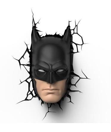 Lámpara 3D pared Batman. Dc. Comics  Divertida lámpara de pared que simula la cabeza de Batman atravesando la pared de nuestra habitación.