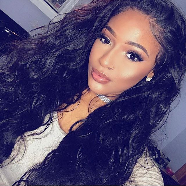 Lovely wavy full lace human hair wig