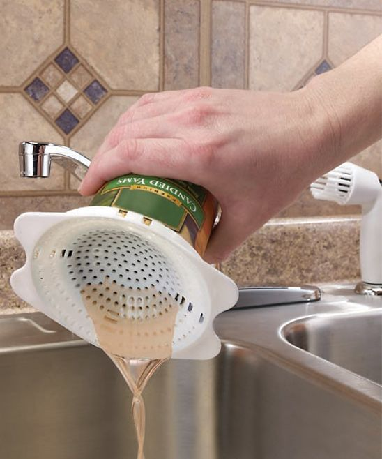 Snap-On Can Strainer - what a great little invention! Perfect for draining cans of veggies or tuna right from the can!