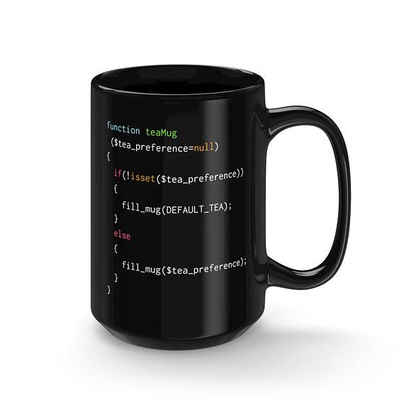 The perfect mug for PHP coders #CodeBean #python #gifts #coding #starbucks #coffeetime #giftideas #giftsforher #giftsforhim #programminghumor with an affinity for tea. Following this simple script will remind coders to fill up an empty mug with the tea of their preference!  The perfect mug to get a much that needed tea from while web-designing!   - Durable black ceramic mug  - Rounded edge, safe to