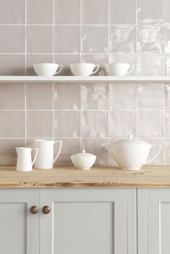 Hibiscus Field Tile | Winchester Tile  | Half Bathroom Tile Idea