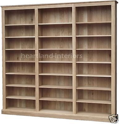 """Solid Oak Bookcase, 7ft x 8ft 10"""" Library Display Shelving Cabinet"""