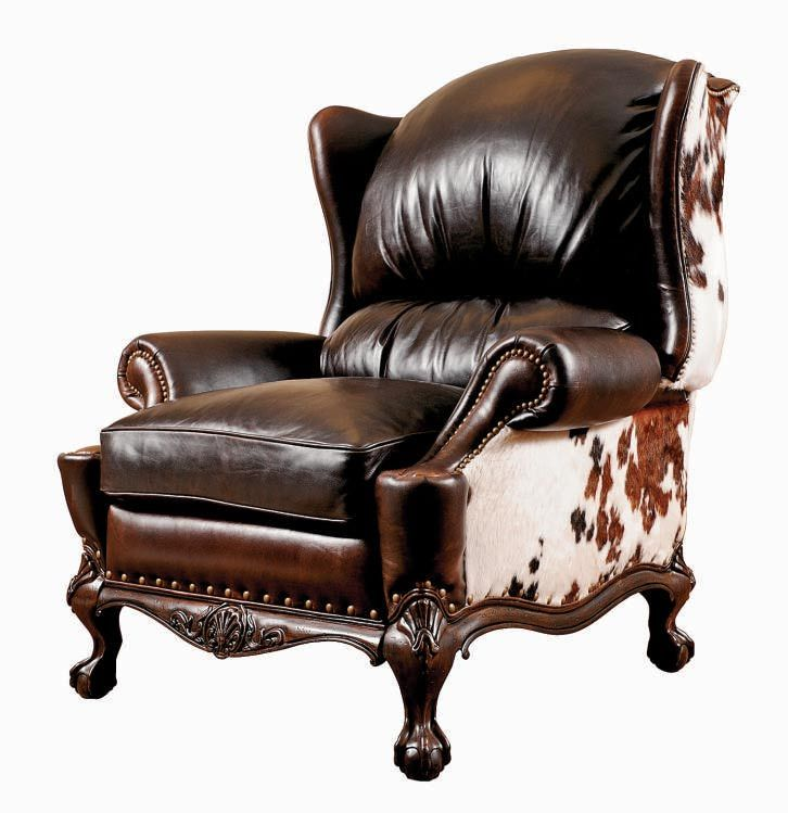 Cowhide Leather Sofa Antique American Empire Oak Cowhide