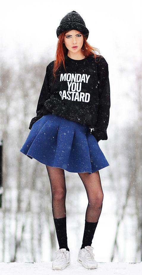 """Monday you bastard"" sweatshirt with Skirt, Long socks, Sneakers & Hat"