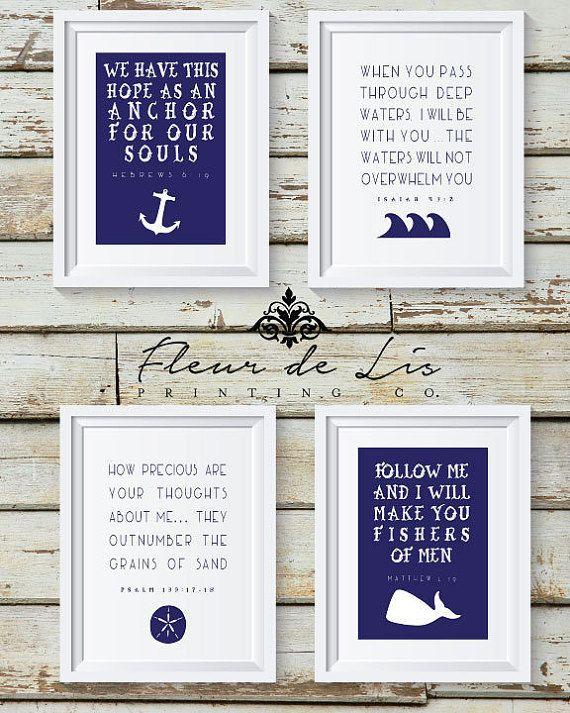 Nautical Theme Bible Verse Instant Download by FleurDeLisPrints