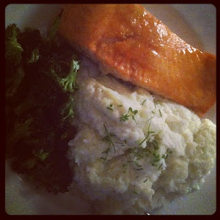Spicy/Sweet BBQ Salmon, Mashed Cauliflower and Roasted Broccoli ...