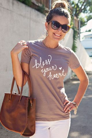 Pre-shrunk fitted Bless Your Heart oatmeal brown crew neck tee