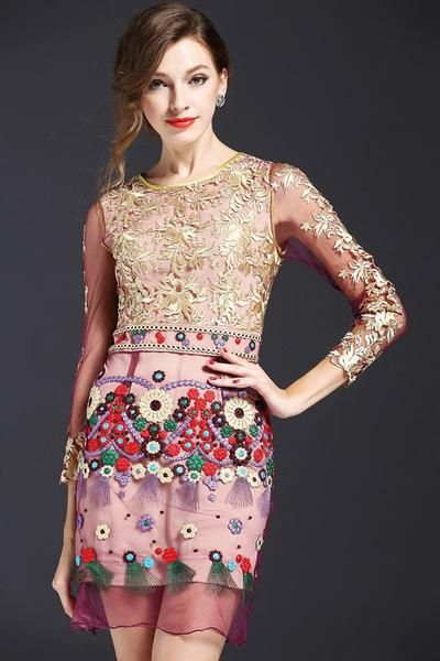 EMBROIDERED FLORAL CHIFFON DRESS