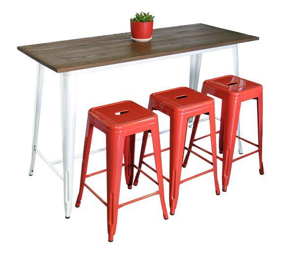 Replica Tolix bench with three 66 cm Replica Tolix Stools