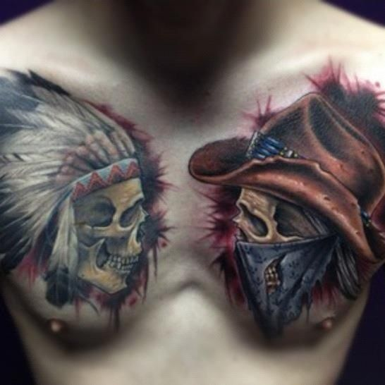 Cowboys  Indians Tattoo. This is the best Cowboy and Indian Tattoo i've ever seen!    http://pinterest.com/treypeezy  http://twitter.com/TreyPeezy  http://instagram.com/OceanviewBLVD  http://OceanviewBLVD.com