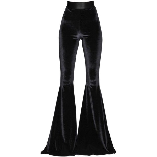 Faith Connexion Women Flared Stretch Velvet Pants (744 AUD) ❤ liked on Polyvore featuring pants, black, velvet trousers, flare leg pants, stretch flare pants, stretch waist pants and stretchy pants