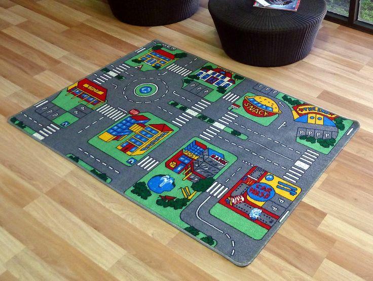 new kids car road non slip play mat rug x large 100x150 cm