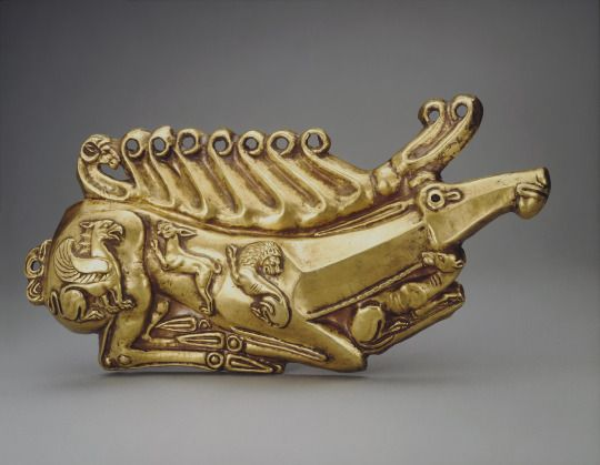 Plaque: Deer        Date: 5th century bc  Place of finding: Kul Oba Barrow (excavations by P.A. Debrux, 1830)  Archaeological site: Crimea, environs of Kerch        Material: gold  Technique: chased        State Hermitage Museum