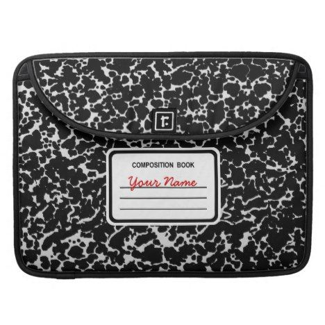 Composition Book | Black & White Sleeve For MacBook Pro #laptop #computer #ipad #mac #sleeve #bags #modern #colorful