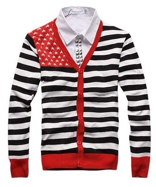 Men American Flag Multi-coloured Long Sleeve Stripe As Picture Knitting Cardigan M/L/XL/XXL@M08ap $22.97 only in eFexcity.com.
