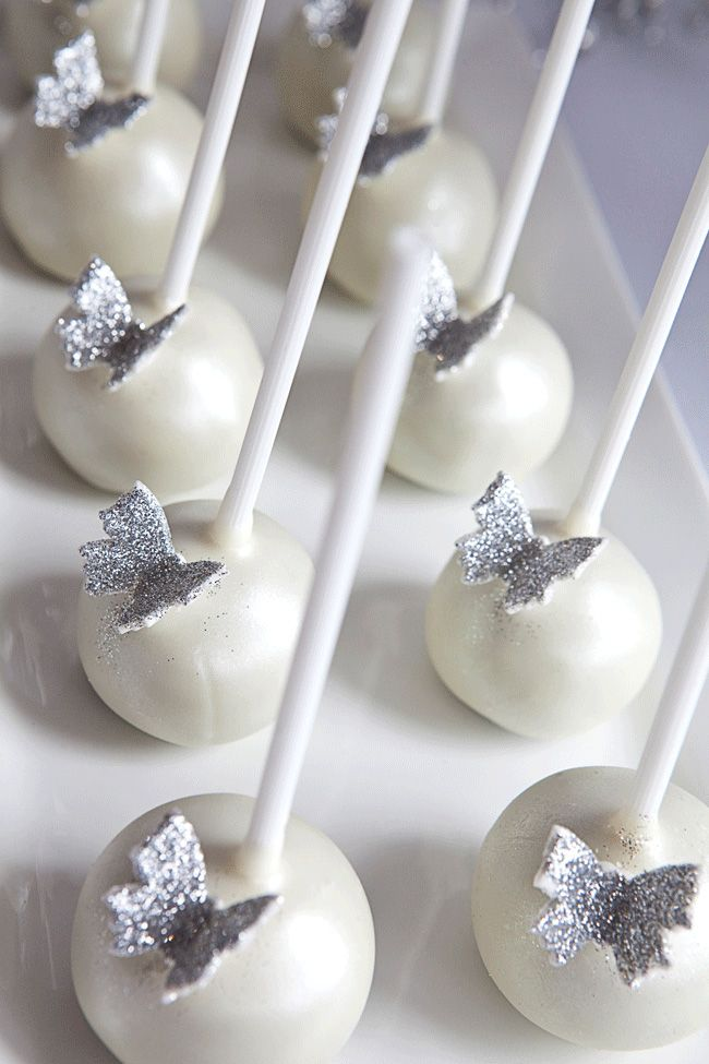 Cake Pops!! White butterfly bridal shower | Chickabug