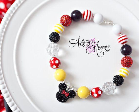 Classic Mini Mouse Pendant Necklace, Disney Inspired Kids Necklace, Chunky Necklace, Chunky Bead Necklace, Child Girls Necklace