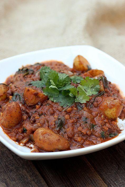 Lentil Mahkani with Potatoes and Spinach (Dal Aloo Palak Makhani) - Gluten-free and Vegan