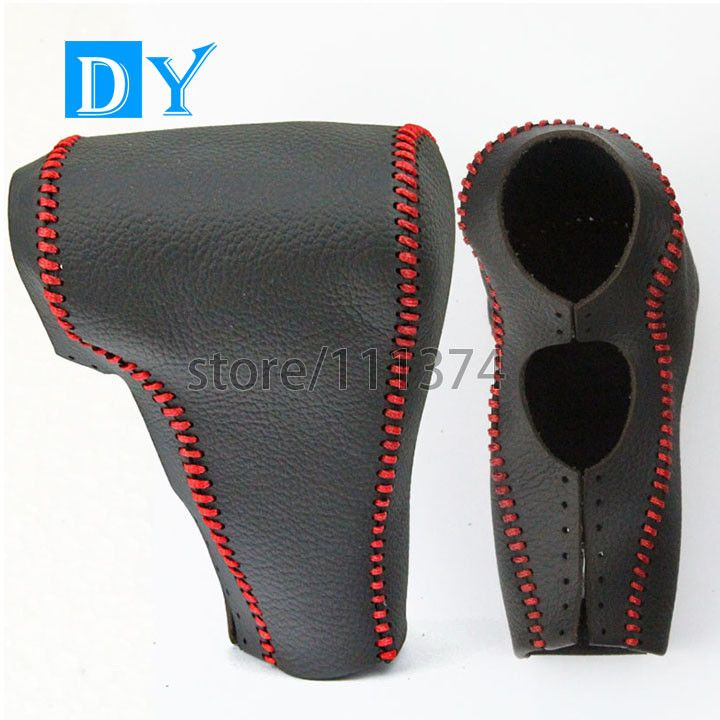 Nulla Genuine leather Red line Car Gear Shift knob cover Protection stitch for Ford Mondeo 2006-2011 Automatic Side Button