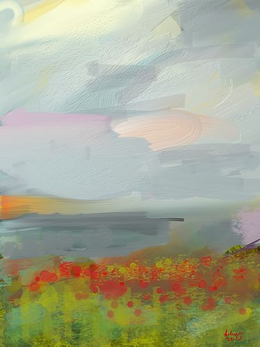 Impressionist Landscape. I like the manner he/she painted the poppies.