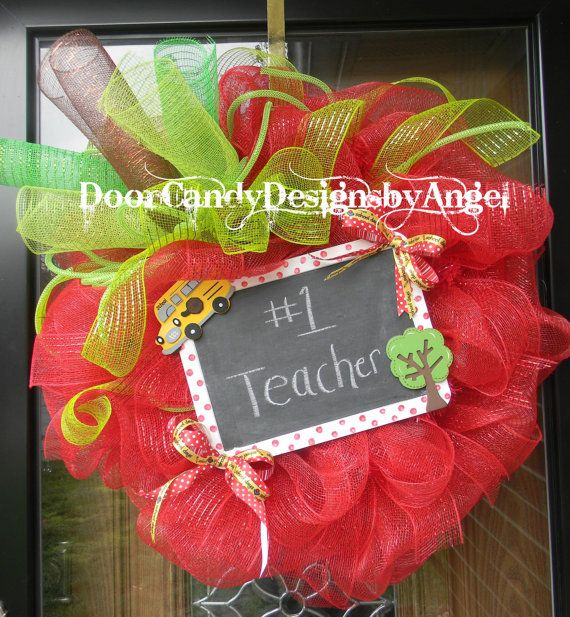 Back to School Teacher Wreath Deco Mesh Apple with Chalkboard to customize how you wish! on Etsy, $55.00