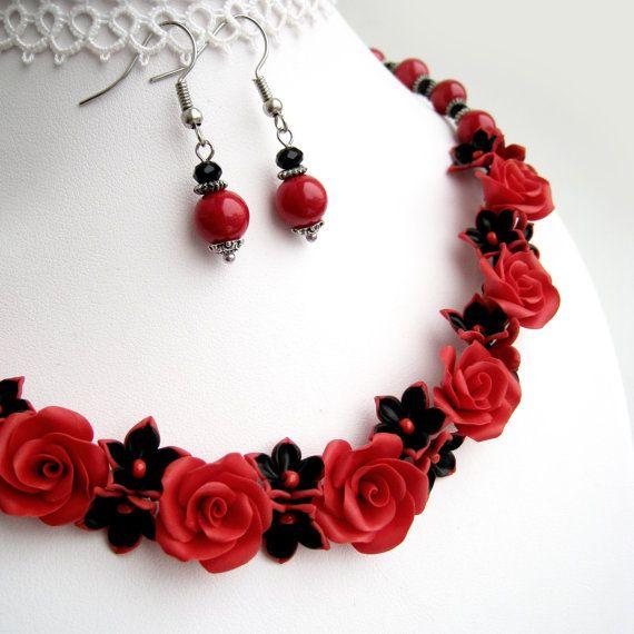 Statement Necklace Polymer Clay Jewelry Set Red Roses Necklace Floral Jewellery Clay Jewelry Flower Jewellery