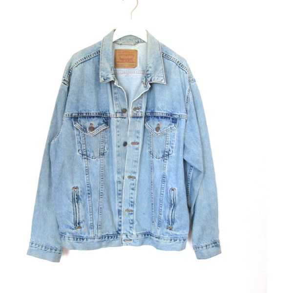 90's Grunge Levi's Denim Jacket size - XL ($38) ❤ liked on Polyvore featuring outerwear, jackets, tops, coats, distressed jean jacket, long sleeve denim jacket, vintage denim jacket, vintage jackets and levi jacket