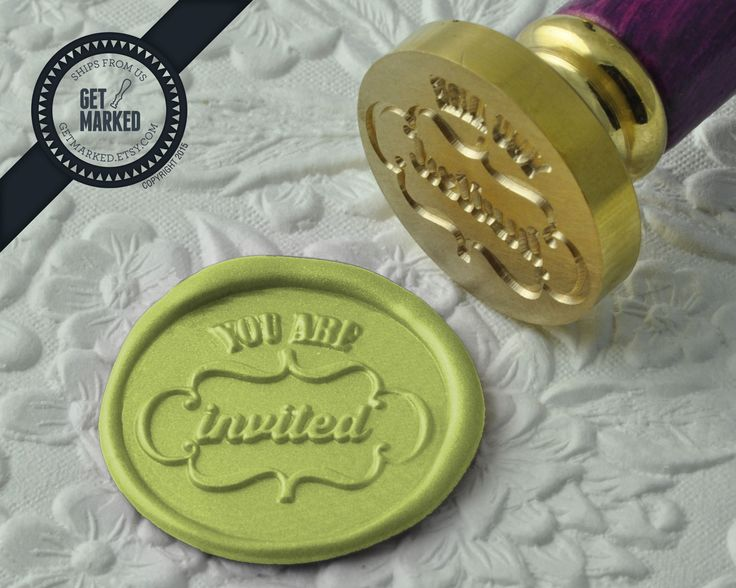 You're Invited - Wax Seal Stamp by Get Marked - Wedding Collection (WS0191).  The stamp is ideal for wedding, engagement party and bridal shower invitations. #GetMarked, #waxsealstamp, #waxseal, #wax, #wedding, #invitation